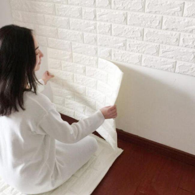 3D stenske tapete bela opeka 1