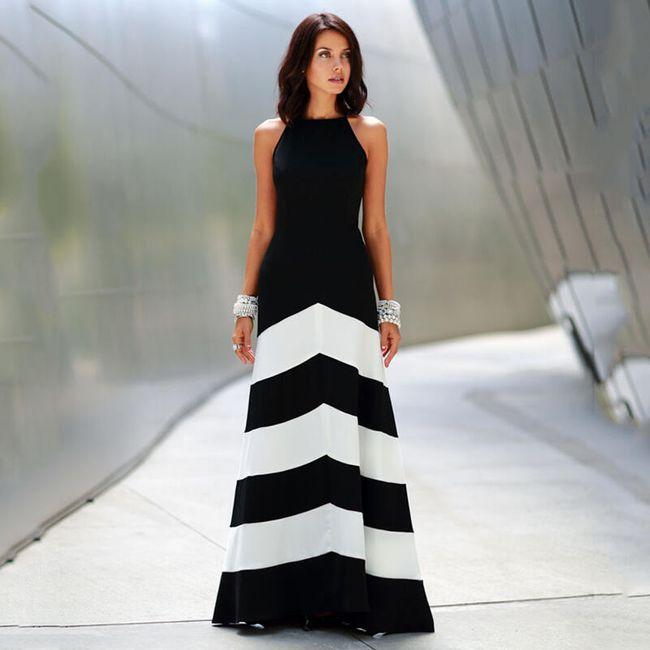 Společenské šaty s pruhovanou sukní - velikost č. 4 1