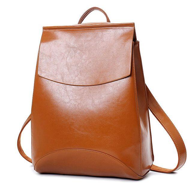 Městský elegantní batoh v imitaci kůže - hnědý 1