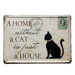 Металлический знак для любителей кошек