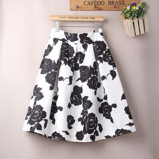 Dámská sukně s květinovými vzory s vysokým pasem 1
