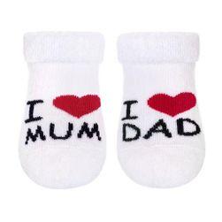 Kojenecké froté ponožky  I Love Mum and Dad - bílá/56 (0-3m) SR_892212
