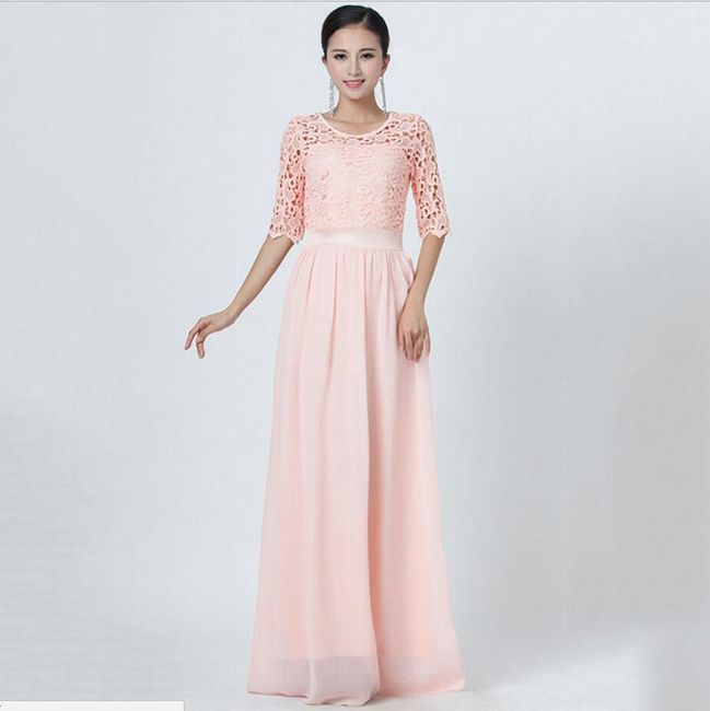 Długa wizytowa sukienka z koronkowym zdobieniem - 10 kolorów 1