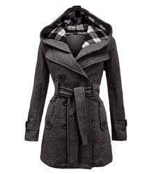 Dámská kabátová mikina Silvia s kapucí a páskem - tmavě šedá