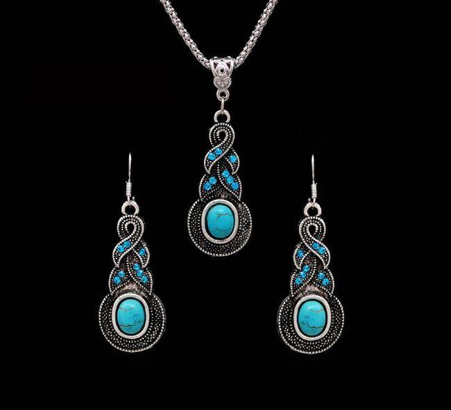 Sada šperků s tyrkysovými kameny 1