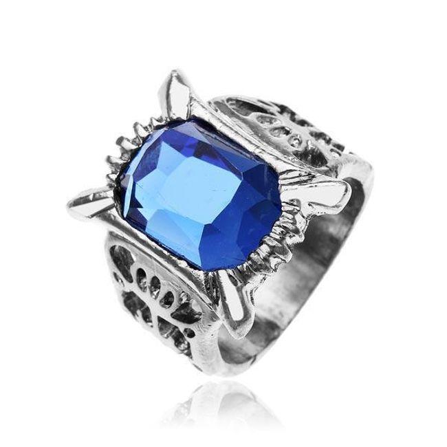 Vintage prsten s velkým modrým kamenem 1