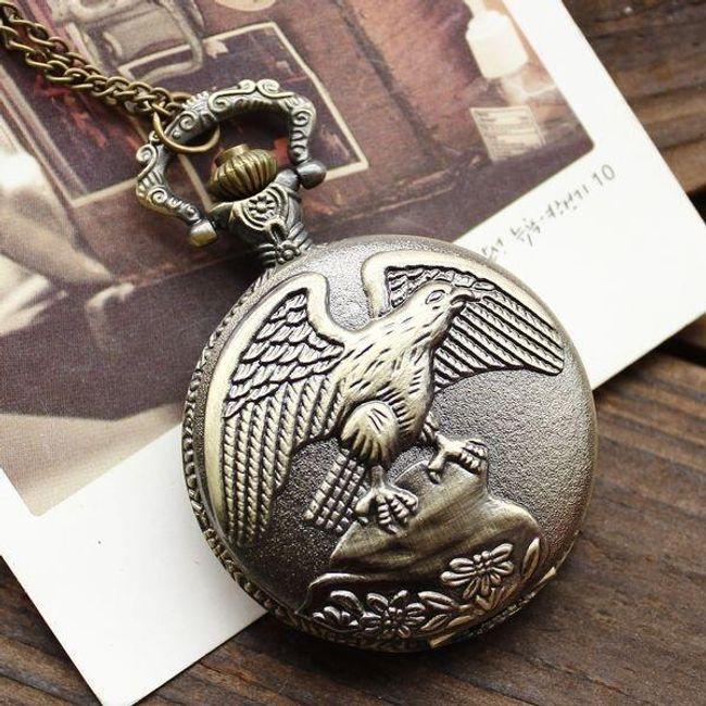 Класически джобен часовник с мотив на орел 1