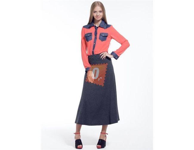 Dámská bavlněná dlouhá sukně - šedá 1