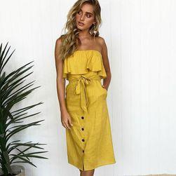 Dlouhé šaty bez ramínek s volánkem - 2 barvy