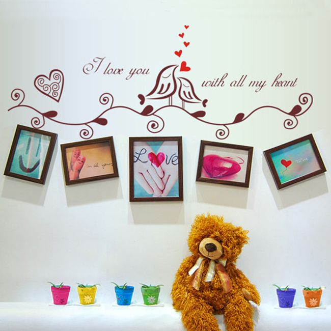 Стикер за стена - влюбени птици 1
