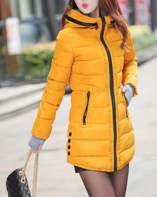 Prošívaná zimní bunda Pia - Oranžová - velikost č. S 1