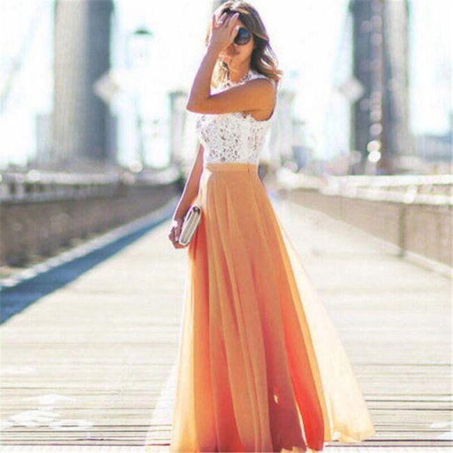Dlouhá vzdušná sukně do pasu - Oranžová - velikost č. 5 1