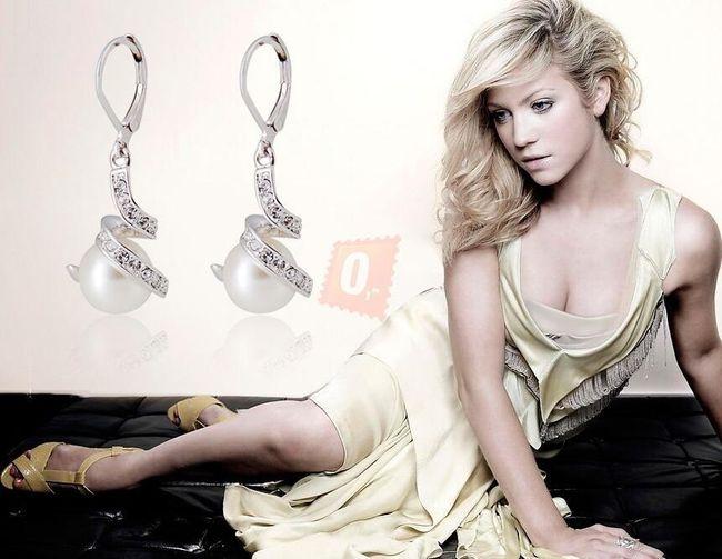 Elegantní náušnice s perlami - stříbrná barva 1
