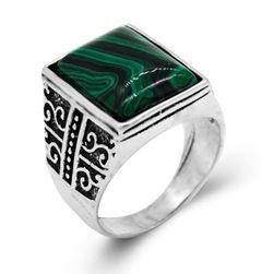 Pánský prsten - zelený kámen