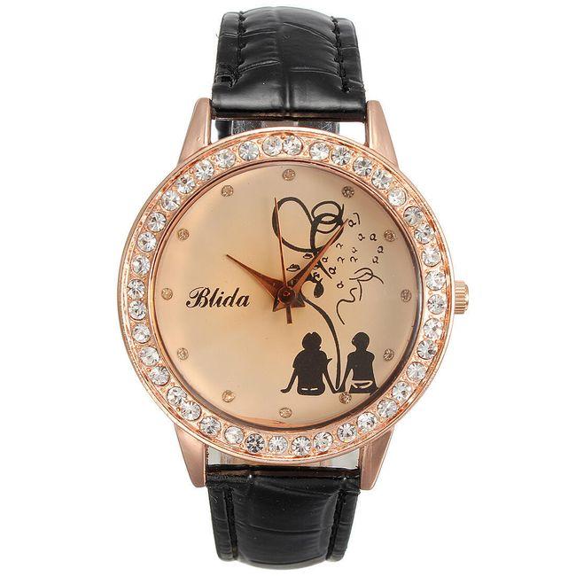 Dámské hodinky s motivem zamilovaného páru - černý pásek 1