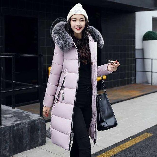 Dlouhá zimní bunda Agnes - Růžová-S 1