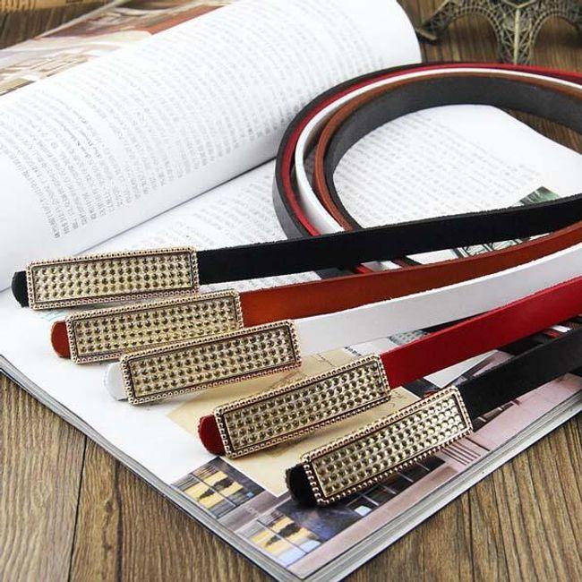 Dámský úzký pásek zdobený třpytivou sponou - v 5 barvách 1