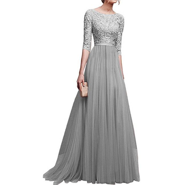 Společenské šaty s tříčtvrtečním rukávem - Šedá-velikost č. 5 1