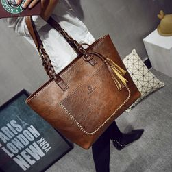 Сумка женская сумочка из кожзаменителя с кисточкой - разные цвета - темно-коричневый