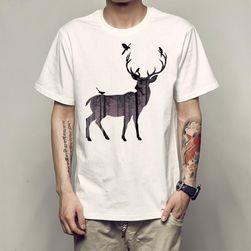 Pánské tričko s potiskem jelena - bílá barva