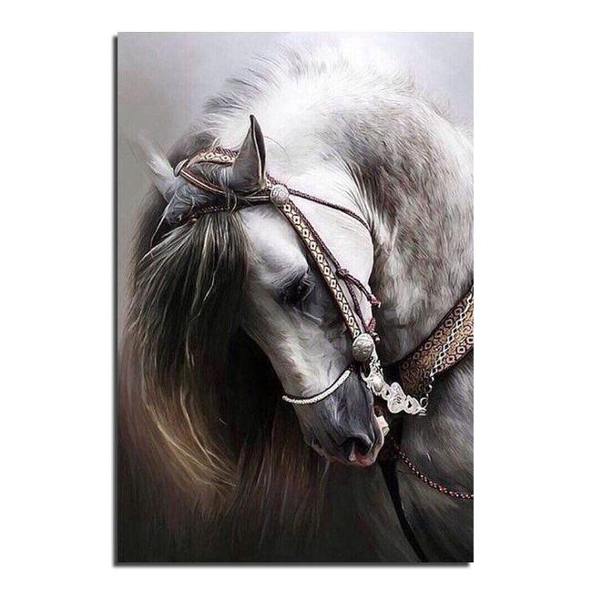 3D naredi sam slika iz kamenčkov (25 x 30 cm) - Konj 1