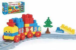 """Baby Blocks vlak s koľajami a stavebnicou plast dĺžka dráhy 1,45 m s doplnkami v krabici 42x21x8cm 12m + """" RM_89041461"""