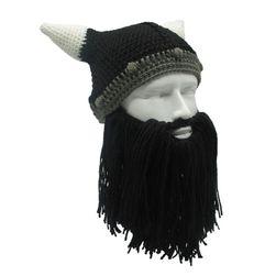 Căciulă tricotată de iarnă cu barbă Viking Negru