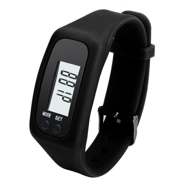 Silikonové hodinky s krokoměrem - černé 1