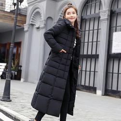Dugački prošivani kaput Crna bez krzna-veličina br. 6