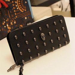 Dámská dlouhá peněženka s lebkami - černá