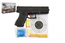 Pistolet na kulki 20cm plastik + kulki wodne 6mm, piankowe 3 szt., Gumowe naboje. w pudełku 23x15x4cm RM_00850079