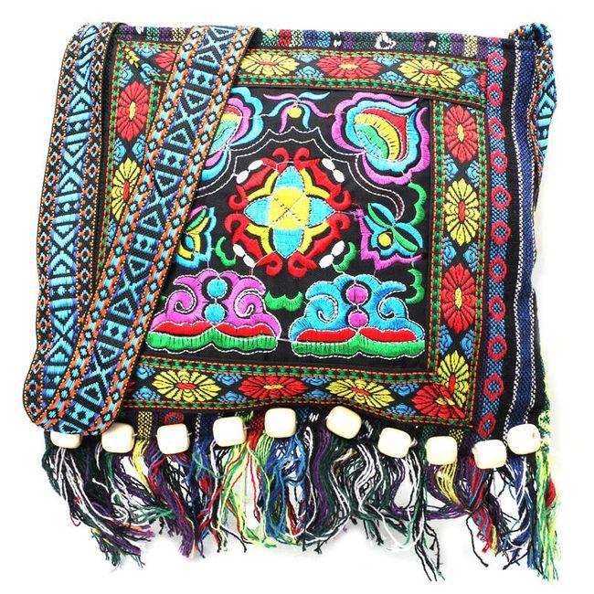 Pestrobarevná taška se střapci přes rameno - 2 varianty 1