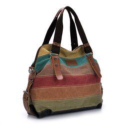 Praktická dámská kabelka s různobarevnými pruhy
