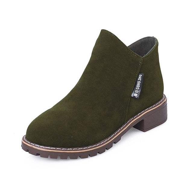 Dámské semišové boty - Zelená-39 1