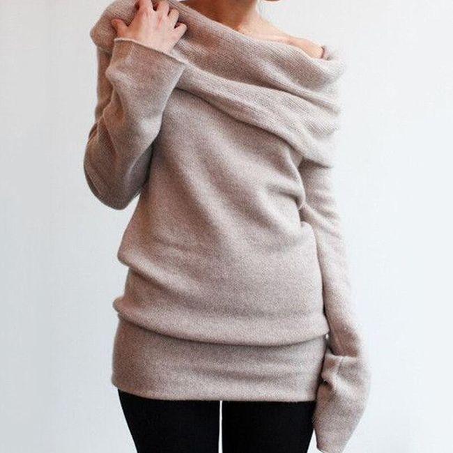 Stylový dámský svetr se spadlými rameny - 3 barvy 1