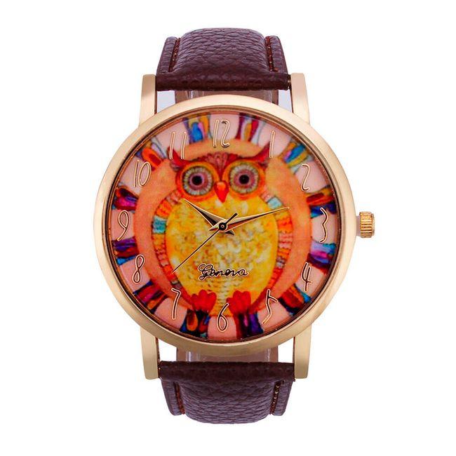 Dámské vintage hodinky s barevnou sovičkou 1
