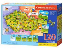 Puzzle Mapa Českej republiky 120 dielikov + 14 kvízov náučné 40x28cm v krabici RM_22900961
