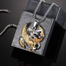 Pánský náhrdelníky s orlem a nápisem