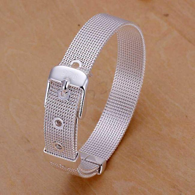 Náramek v podobě pásku - stříbrná barva 1