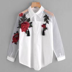 Dámská košile s výšivkou růží - bílá barva