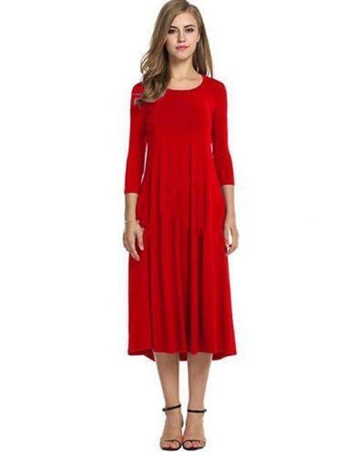 Dámské šaty s tříčtvrtečním rukávem - červená-6 1