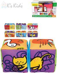 Baby soft kostky textilní 2ks zvířátka počítání na baterie Zvuk SR_831365