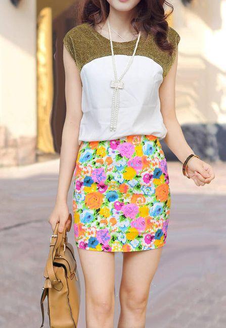 Květinová mini sukně 1