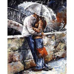 Keret nélküli, befejezetlen festmény 40 x 50 cm - Szerelem az esőben