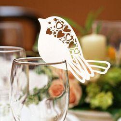 Poročna dekoracija za kozarce- Ptice - 50 kosov