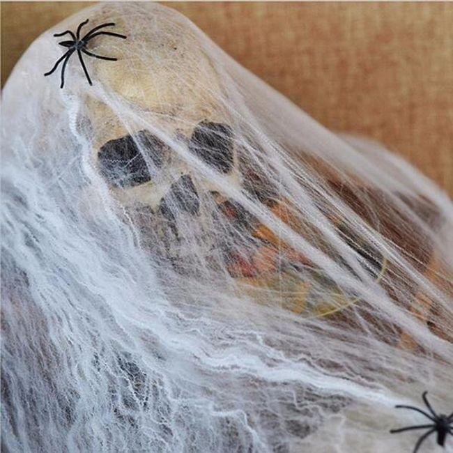 Halloween dekoráció - Világító pókháló pókokkal 1