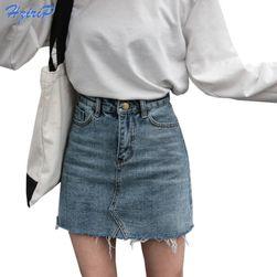 Džínová sukně s vysokým pasem - 2 barvy