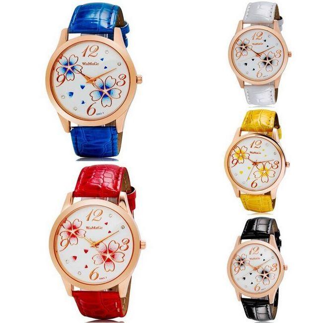 Damski zegarek WOMAGE ozdobiony kwiatami - v 5 barvách 1