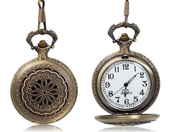 Kieszonkowy retro zegarek z ornamentem - brązowy 1