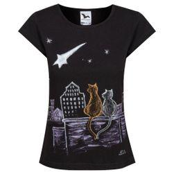 Tričko ručně malované Noc ve městě